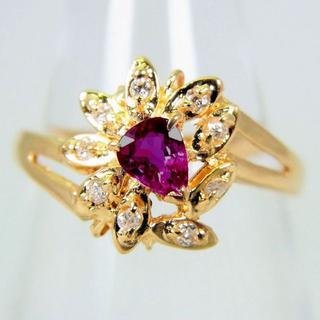 K18 ルビー ダイヤモンド リング 7号[g105-12](リング(指輪))