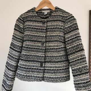 H&M - H&M ノーカラージャケット ツイード ネイビー