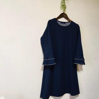 handmade ハンドメイド 袖二段フリルチュニック M〜L(ひざ丈ワンピース)