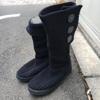 アグ(UGG)のアグ   UGG  ニットブーツ ブーツ レディース 23cm 黒(ブーツ)