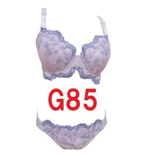 G85/3L・パープル◆刺繍レースブラジャー&ショーツ■大きいサイズ 【補正下着(ブラ&ショーツセット)