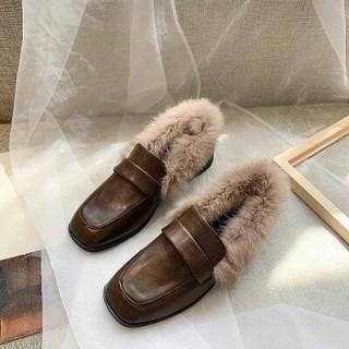 新作 韓国  もこもこ クロス   ブーツ   靴 ブラウン  (ブーツ)