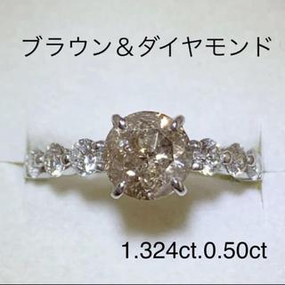 プラチナ ブラウン&ダイヤモンド リング(リング(指輪))