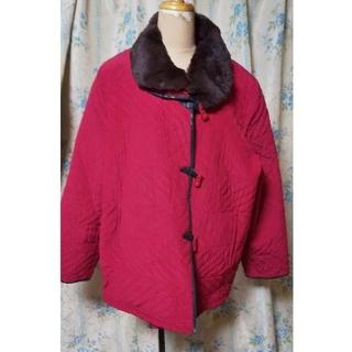 赤暖かい大きめコートファーウサギ毛(ピーコート)