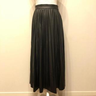ザラ(ZARA)のZARA レザー調 プリーツ スカート 黒 ブラック 新品未使用(ロングスカート)