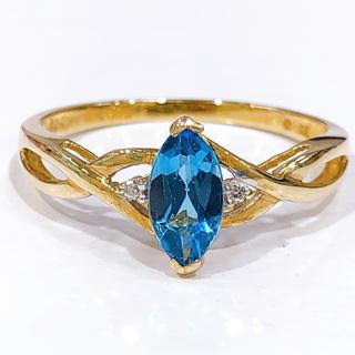 K10 ブルートパーズ ダイヤモンド リング(リング(指輪))