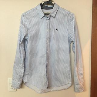 エイチアンドエム(H&M)のH&M キッズ コットンシャツ ホワイト/ブルーストライプ 158(ブラウス)
