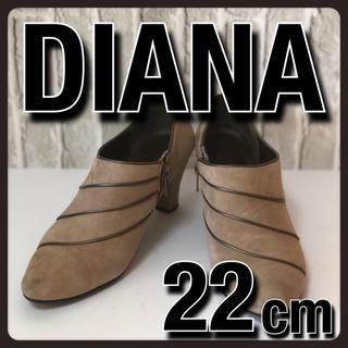 ダイアナ(DIANA)の美品 DIANA ダイアナ ブーティ ハイヒール スエード ベージュ 22cm(ブーティ)