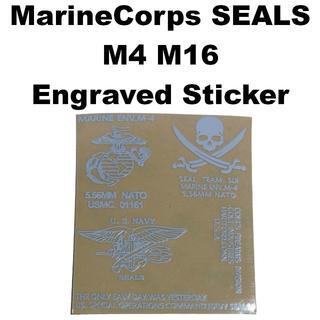 海兵隊 SEALS M4 M16 刻印 メタルステッカー ホワイト 1160r(カスタムパーツ)