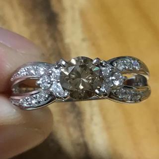 美麗❗️一粒石✨1ct超❗️ブラウンダイヤ&ダイヤモンド✨リング✨指輪✨17号(リング(指輪))