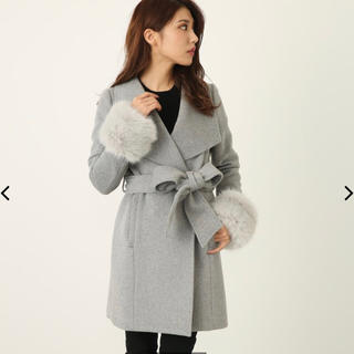 リエンダ(rienda)のBIGカラーFaux Fur SLV Wool Mix CT 黒 M(毛皮/ファーコート)