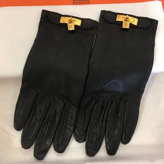 エルメス(Hermes)の【美品】エルメス 7サイズ レザーグローブ 手袋 カデナ ブラック 黒(手袋)