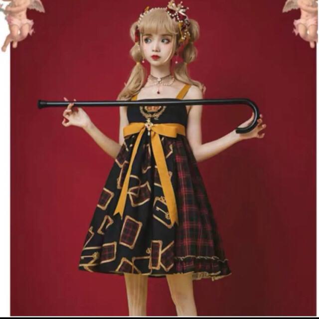 Angelic Pretty(アンジェリックプリティー)の最終値下げ ロリータ ローヤルカード 黒チェック ジャンスカ レディースのワンピース(ひざ丈ワンピース)の商品写真