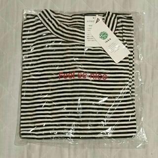 イッカ(ikka)のikka ボーダーハイネック長袖Tシャツ 黒(Tシャツ/カットソー)