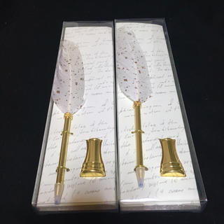 フランフラン(Francfranc)の【美品】羽根ペン ボールペン ペン立て 2本セット(ペン/マーカー)