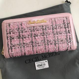 セシルマクビー(CECIL McBEE)の新品 セシルマクビー ツイード ラウンドファスナー 長財布 ピンク(財布)