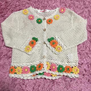 パーソンズキッズ(PERSON'S KIDS)のカーディガン 女の子 3歳 上着 お花 編み物(カーディガン)