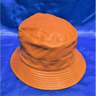 エルメス(Hermes)のエルメス モッチ (MOTSCH)  帽子 ハット 羊革 サイズ57 オレンジ(ハット)
