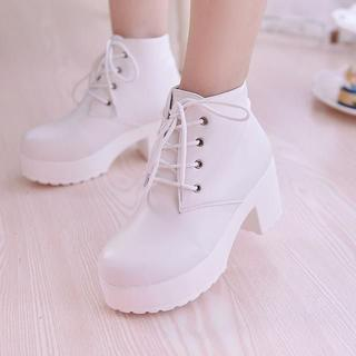*かわいい*ショートブーツ*レースアップ厚底*27cm*ホワイト45(ブーツ)