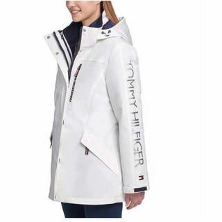 トミーヒルフィガー(TOMMY HILFIGER)の新品 トミーヒルフィガー パデッドパーカー コート ダウンジャケット 2枚重紺白(ダウンコート)