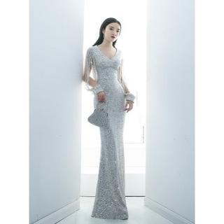 美品!  イブニングドレス   シルバー   マーメイドライン   ロング   (ロングドレス)