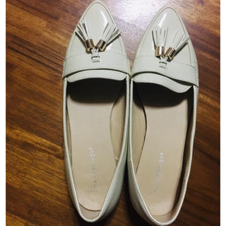 パンプス 白 クリーム 靴 ローパンプス(ハイヒール/パンプス)