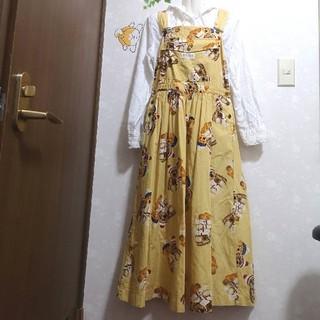 ピンクハウス(PINK HOUSE)のクマ くま ロングスカート ワンピース ジャンスカ(サロペット/オーバーオール)