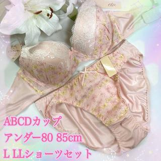 C80L♡ベイビーピンク♪ブラ&ショーツ 大きいサイズ クリスマス(ブラ&ショーツセット)
