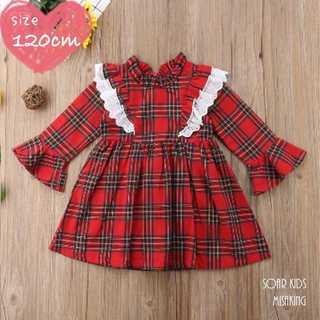 アウトレット⭐️レッドチェックワンピース 120cm(130) 海外子供服(ワンピース)