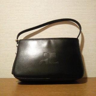 クレージュ(Courreges)の美品【courreges】ハンドバッグ 型押し ロゴ 肩掛け ブランド シンプル(ハンドバッグ)