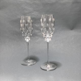 エルメス(Hermes)のHERMES 水玉模様 ファンファーレ シャンパングラス ペアセット(グラス/カップ)