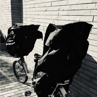 子供乗せ自転車レインカバー 黒前後セット