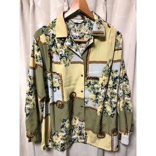 古着 メタルボタン チェーン柄 総柄 水彩 植物柄 長袖 シャツ ポリシャツ(シャツ/ブラウス(長袖/七分))
