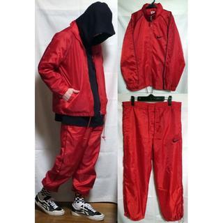 ナイキ(NIKE)のナイキ ナイロン ジャケット パンツ セットアップ 赤 黒 NIKE 90's (その他)