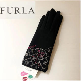 フルラ(Furla)の新品⭐️ FURLA フルラ スマホ対応 手袋 バッグ刺繍 カシミヤ混 黒(手袋)