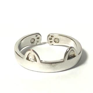 1706 シルバーリング  猫耳 肉球 デザイン ねこ 925 10号(リング(指輪))