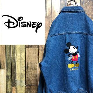 ディズニー(Disney)の【激レア】ディズニー☆ミッキービッグ刺繍・刺繍ロゴデニムジャケット 90s(Gジャン/デニムジャケット)