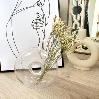 ザラホーム(ZARA HOME)の海外より クリアガラスベース 花瓶 インテリア ドライフラワー 一輪挿し(花瓶)