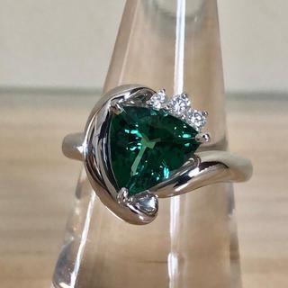 天然グリーントルマリン・ダイヤモンドリング/PT(リング(指輪))