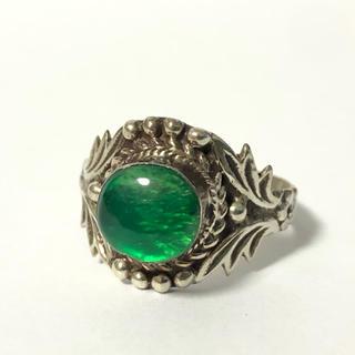 1685 シルバーリング  石付 草花 デザイン 925  15号(リング(指輪))