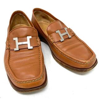 エルメス(Hermes)のHERMES☆ ローファー H ロゴ レザー ブラウン シルバー(ローファー/革靴)