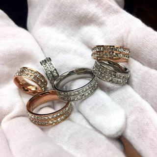 キラキラスワロ!サイズ充実!チタンステンレス製リング指輪(リング(指輪))