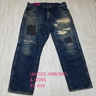 ユナイテッドアローズ(UNITED ARROWS)のUNITED ARROWS & SONS 刺し子デニムパンツ XL(デニム/ジーンズ)