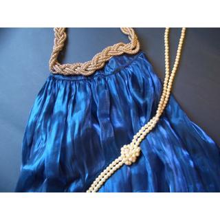 アナップ(ANAP)のパーティーにおすすめ★新品 ANAPアナップ シルバーチェーン付きバルーンドレス(ひざ丈ワンピース)