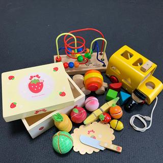 ボーネルンド(BorneLund)の木製おもちゃセット★ルーピング・かたつむり・スクールバス・おままごと(その他)