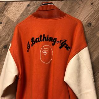 アベイシングエイプ(A BATHING APE)のUSA製 初期 エイプ BAPE ×ポスト POST 袖革スタジャン(スタジャン)