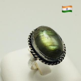 ブルーファイヤーラブラドライトリング インドジュエリーA(リング(指輪))