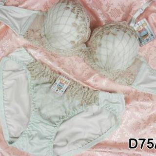 044★D75 M★美胸ブラ ショーツ 谷間メイク ダイアチェック刺繍 緑(ブラ&ショーツセット)