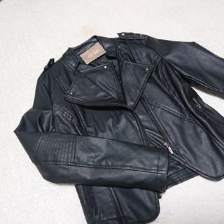 早い者勝ち!値下げ☆新品☆レディースライダースジャケット 革ジャンSサイズ黒(ライダースジャケット)