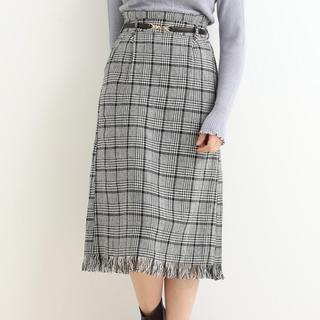 マジェスティックレゴン(MAJESTIC LEGON)の裾フリンジチェックIラインスカート(ひざ丈スカート)